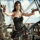 Vrouwelijke tekening twee van de fantasiepiraat pistolen om haar schip te verdedigen vector illustratie