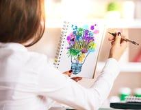 Vrouwelijke tekenings bedrijfsschets Royalty-vrije Stock Fotografie