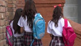Vrouwelijke Tienerstudenten met Rugzakken stock footage