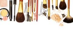Vrouwelijke toebehoren: schoonheidsmiddel, juwelen, haarspelden Stock Fotografie