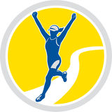 Vrouwelijke Triathlete-Retro Marathonagent Royalty-vrije Stock Fotografie