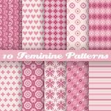 Vrouwelijke vector naadloze patronen (het betegelen) dierbaar Stock Foto
