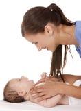 Vrouwelijke verpleegster met baby Stock Foto's