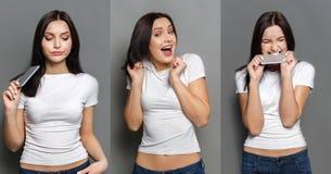 Vrouwelijke verschillende geplaatste emoties Stock Afbeelding