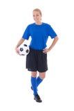 Vrouwelijke voetballer in blauwe die eenvormig op wit wordt geïsoleerd royalty-vrije stock afbeelding