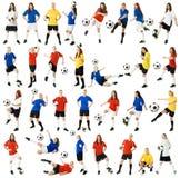 Vrouwelijke voetballers stock afbeeldingen