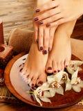 Vrouwelijke voeten bij kuuroordsalon op pedicureprocedure Stock Foto's
