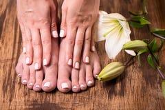 Vrouwelijke voeten en handen Stock Foto