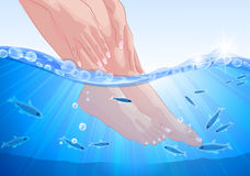 Vrouwelijke voeten en handen, fish spa behandeling Stock Foto's