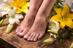 Vrouwelijke voeten met kuuroordpedicure en bloemen Stock Fotografie