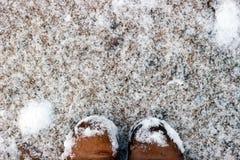 Vrouwelijke voeten op sneeuw Stock Afbeelding