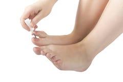 Vrouwelijke voeten pedicure stock fotografie