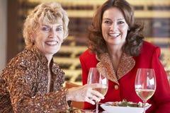 Vrouwelijke Vrienden die Diner hebben bij een Restaurant royalty-vrije stock foto