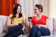 Vrouwelijke vrienden die wijn drinken royalty-vrije stock afbeelding
