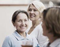 Vrouwelijke vrienden op de zomerterras Stock Foto