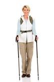 Vrouwelijke wandelaar status Stock Foto's