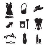 Vrouwelijke wereld van het winkelen pictogrammen Stock Afbeeldingen