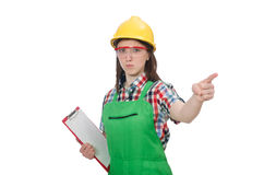 Vrouwelijke werknemer met agenda op wit wordt geïsoleerd dat Stock Fotografie