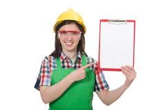 Vrouwelijke werknemer met agenda op wit wordt geïsoleerd dat Royalty-vrije Stock Foto's