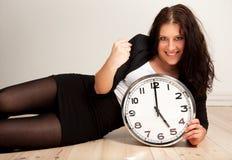 Vrouwelijke Werknemer met Dichtgeklemde Vuist Stock Foto