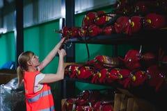 Vrouwelijke werknemer op bierfabriek portretvrouw in robe, die zich bij de productie van het achtergrondlijnvoedsel, de controle  Stock Fotografie