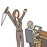 Vrouwelijke werknemers backstabbing medewerker Stock Afbeeldingen