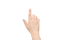 Vrouwelijke wijsvinger op een witte achtergrond royalty-vrije stock fotografie
