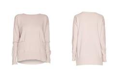 Vrouwelijke witte die sweater op wit wordt geïsoleerd royalty-vrije stock afbeelding