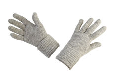 Vrouwelijke wollen handschoenen   Geïsoleerdn Royalty-vrije Stock Fotografie