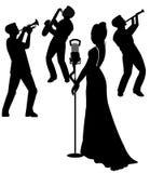 Vrouwelijke zanger op stadium in silhouet Royalty-vrije Stock Foto's