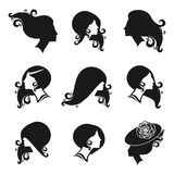 Vrouwelijke zwarte silhouetreeks Manier en schoonheidshaarstijlen vect Stock Foto's