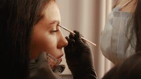 Vrouwen applys verf op de wenkbrauwen stock videobeelden