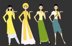 Vrouwen in Aziatische kostuums - Vietnam en Thailand Stock Fotografie
