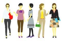 Vrouwen, beambten, studenten royalty-vrije illustratie