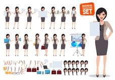Vrouwen bedrijfskarakter vectorreeks De vrouwelijke lege lege witte raad van de beambteholding vector illustratie
