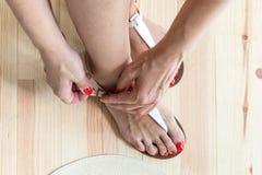 vrouwen benen die op schoenen zetten Stock Foto