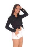 Vrouwen bevindende taille omhoog in borrels en blouse Stock Fotografie