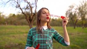 Vrouwen blazende zeepbels in openlucht - langzame motie stock video