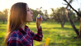 Vrouwen blazende zeepbels in openlucht - langzame motie stock videobeelden