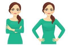 Vrouwen boze emotie vector illustratie