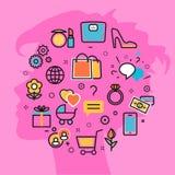 Vrouwen de favoriete belangen vector roze achtergrond van het dromenproces Stock Foto