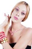 Vrouwen die als barbiepop handelen Stock Foto's