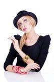 Vrouwen die als barbiepop handelen Royalty-vrije Stock Fotografie