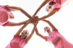 Vrouwen die bij handen voor de voorlichting van borstkanker aansluiten zich Royalty-vrije Stock Afbeeldingen
