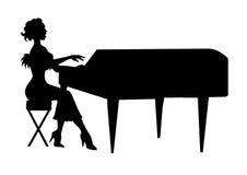 Vrouwen die de grote piano spelen Stock Afbeeldingen