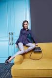 Vrouwen die de stijl van de de inzamelingsmanier van de make-upcatalogus kleden Royalty-vrije Stock Afbeeldingen