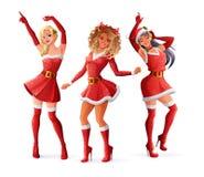 Vrouwen die in de uitrustingen van de Kerstmiskerstman dansen Geïsoleerdee vectorillustratie royalty-vrije stock fotografie