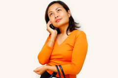 Vrouwen die - handphone roepen royalty-vrije stock afbeeldingen