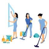 Vrouwen die huis schoonmaken Royalty-vrije Stock Fotografie
