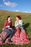Vrouwen die landpicknick hebben royalty-vrije stock fotografie